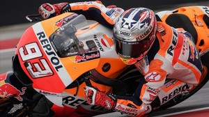 El catalán Marc Márquez (Honda), en el primer entrenamiento de hoy en el circuito de Austin (Texas, EEUU).