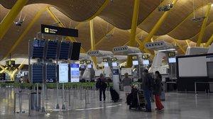 El aeropuerto de Madrid-Barajas, casi vacío el pasado día 5.