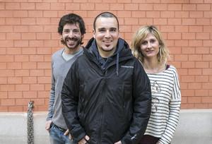 Albert Sans, en el centro, junto a los otros dos finalistas, Eva Clauso y Raúl Rojas.