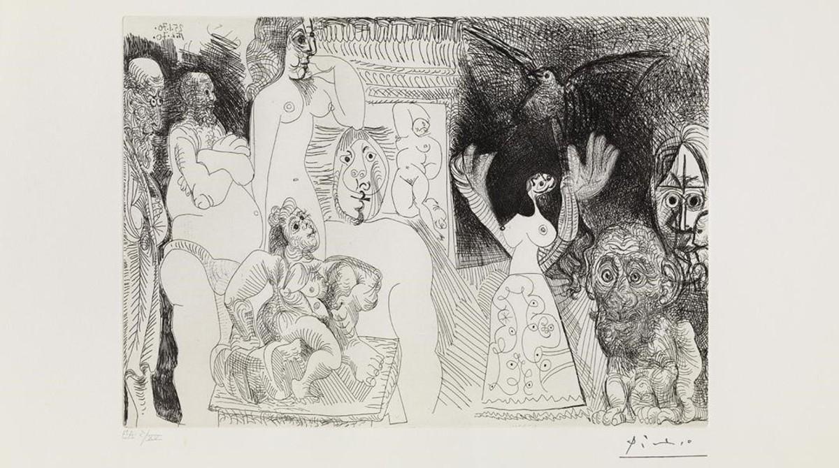 Autorretrato desdoblado, uno de los grabados de Picasso, de 1970, expuesto en el museo barcelonés del artista malagueño.