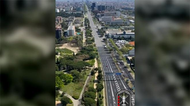 Barcelona vacía desde el helicóptero de los Mossos