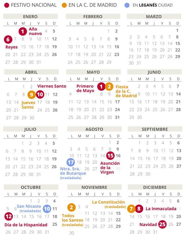 Calendario laboral de Leganés del 2020.