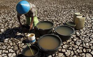 Un camperol recull aigua en un llac sec a l'illa de Java (Indonèsia).