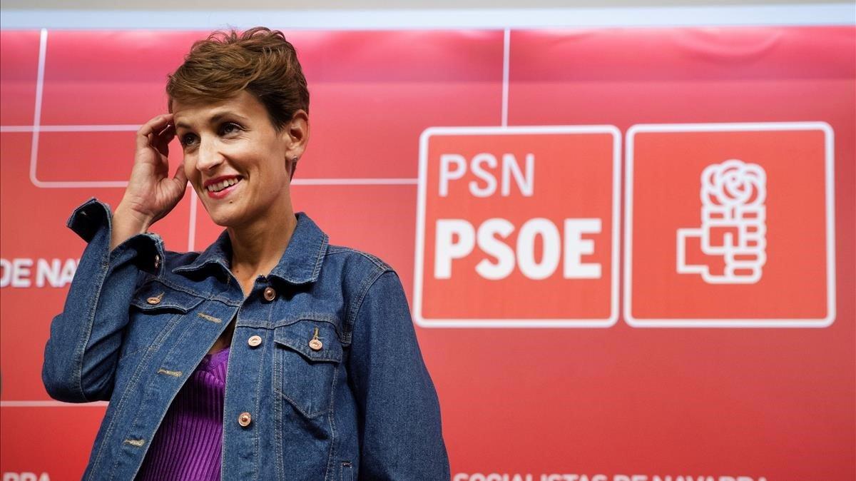 La candidata socialista a presidir Navarra, María Chivite, el pasado 2 de julio, en Pamplona.