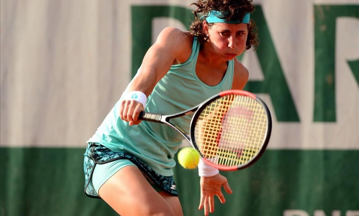 Carla Suárez, ayer durante su partido contra Maria Sakkari.