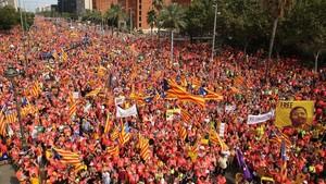 La Diada en la Diagonal de Barcelona.