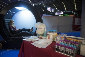 Donación de sangre en el Barcelona Games World.
