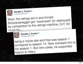 Montaje con dos de los tuits de Donald Trump en los que se mofa de las audiencias televisivas de Arnold Schwazenegger.