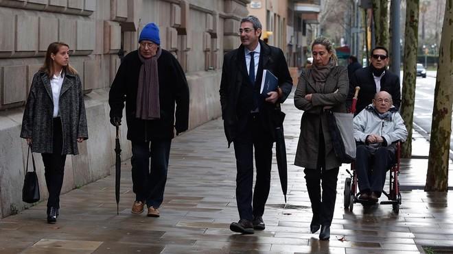 Fèlix Millet, Jordi i Gemma Montull i Daniel Osàcar arriben a l'Audiència per comparèixer pel 'cas Palau'.