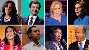 De izquierda a derecha y de arriba a abajo: Kamala Harris, Pete Buttigieg, Kirsten Gillibrand, Elizabeth Warren, Tulsi Gabbard, Julian Castro, Andrew Yang y John Delaney, los ocho candidatos demócratas.