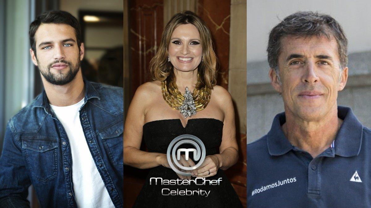 Jesús Castro, Ainhoa Arteta y Pedro Delgado, concursantes de 'Masterchef Celebrity 5'.