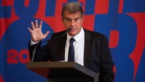 Joan Laporta durante la presentación de su candidatura a la presidencia del Barça.