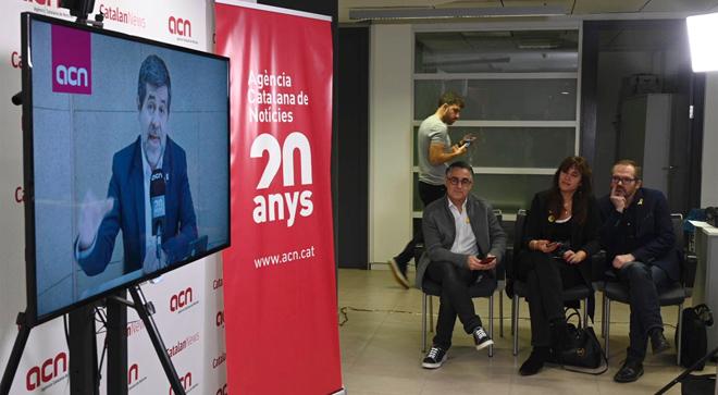 Rueda de prensa de Jordi Sanchez desde Soto del Real.