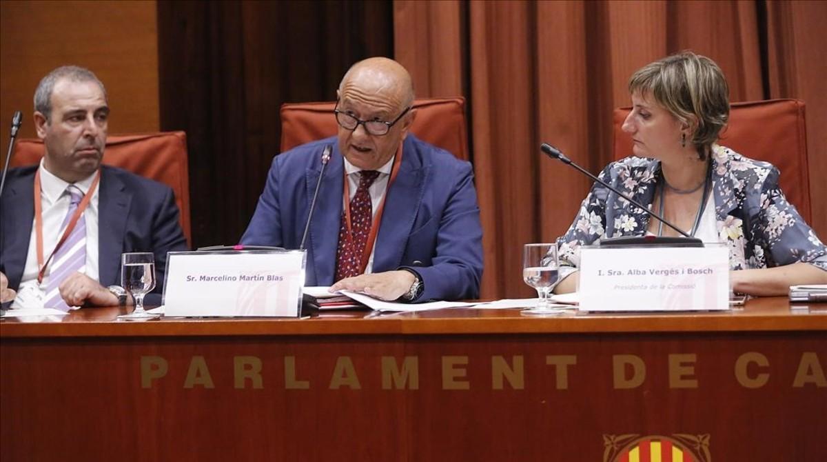 El exjefe de la unidad de Asuntos Internos de la Policía Nacional,Marcelino Martín Blas, durante su comparecencia en la comisión sobre la operación Cataluña en el Parlament.