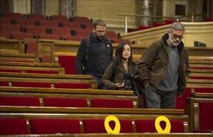 Los diputados de la CUP en el Parlament, Vidal Aragonés, Maria Sirvent y Carles Riera.