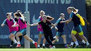 Las jugadoras del Barça femenino, en una sesión preparatoria.