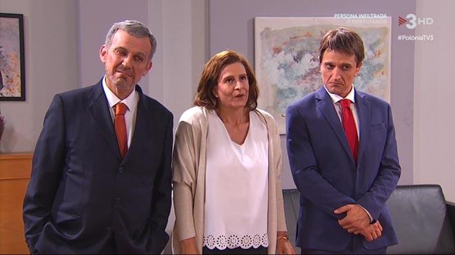 Los Collboni, Colau y Valls de 'Polònia'.