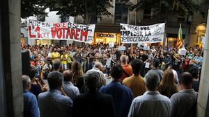 Manifestación a favor del referéndum en Mataró.
