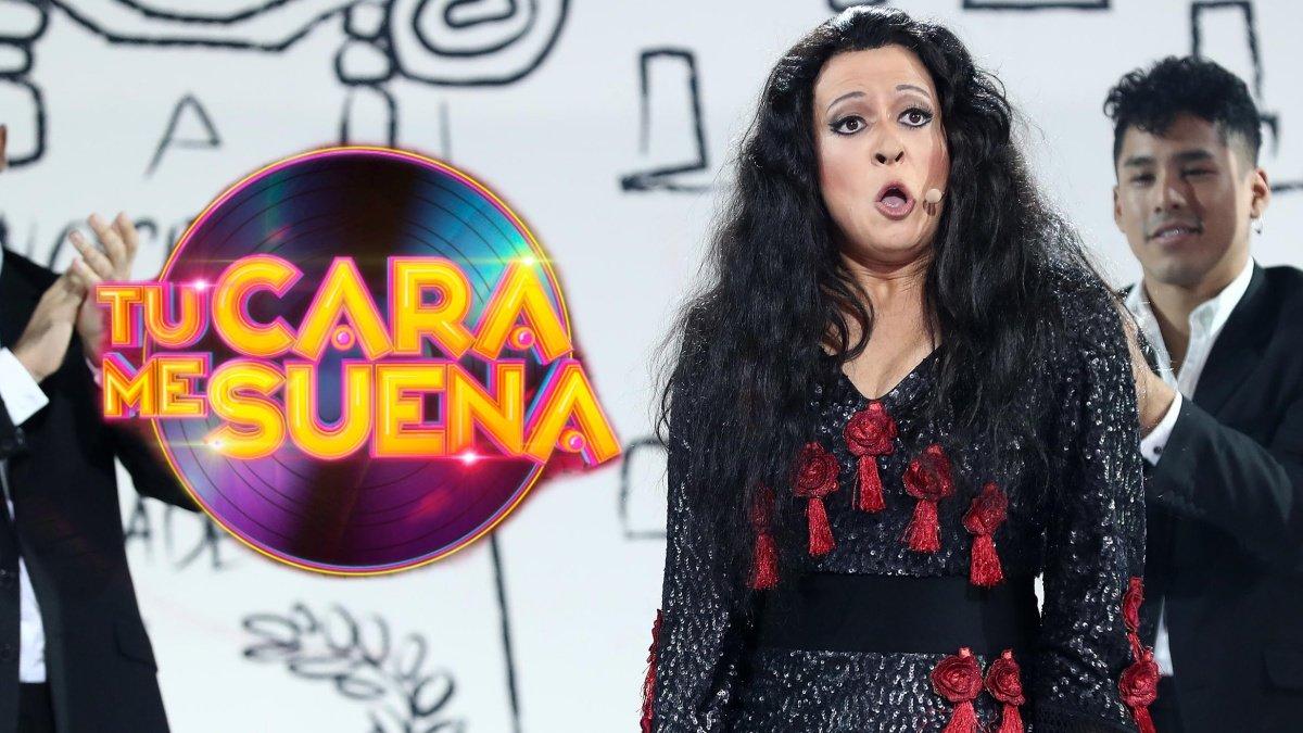 María Villalón imitando a Dolores Vargas en 'Tu cara me suena'.