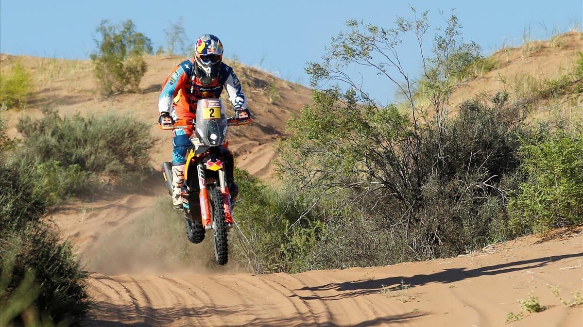 Matthias Walkner, vencedor en motos.