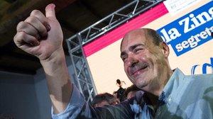 Nicola Zingaretti celebra su victoria en las primarias del Partido Demócrata italiano, el 3 de marzo en Roma.