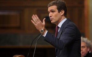 Pablo Casado, este miércoles durante su discurso en la tribuna del Congreso.