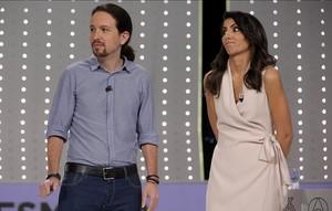 Pablo Iglesias y Ana Pastor, en el debate de Atresmedia.