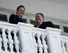 Secretary of State Mike Pompeo  right  and Panama s President Juan Carlos Varela  left  talk on a balcony after a meeting at the Palacio de las Garzas  in Panama City  Panama   Brendan Smialowski Pool Image via AP