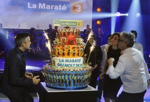 Una imagen del pastel de Christian Escribà que ha celebrado los 25 años de La Marató de TV-3.