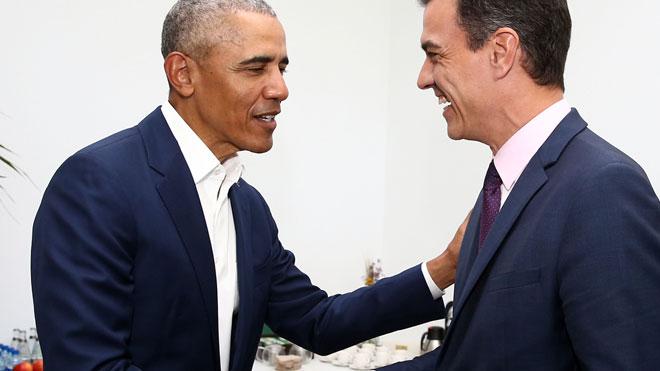 Pedro Sánchez y Barack Obama se encuentran en Sevilla.