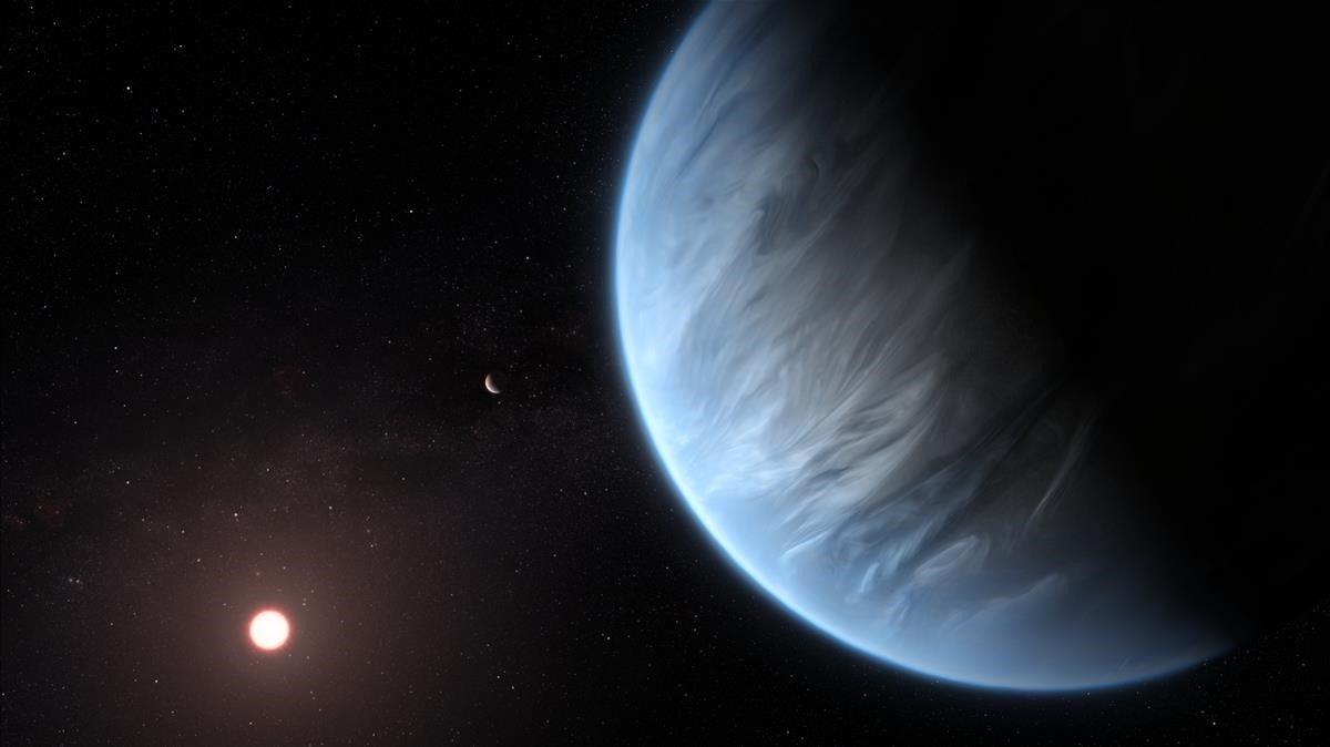 El planeta K2-18b, su estrella anfitriona y un planeta acompanante.