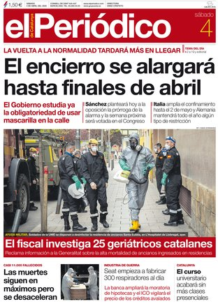 La portada de EL PERIÓDICO del 4 de abril del 2020.