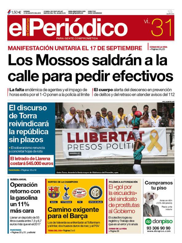 La portada de EL PERIÓDICO del 31 de agosto del 2018