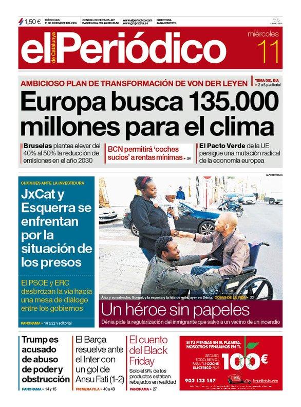 La portada de EL PERIÓDICO del 11 de diciembre del 2019.
