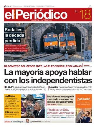 La portada de EL PERIÓDICO del 18 de febrero del 2019