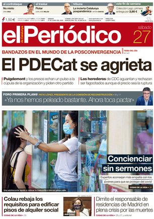 La portada de EL PERIÓDICO del 27 de junio del 2020