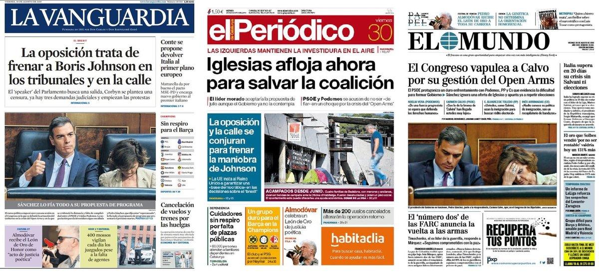 Prensa de hoy: Las portadas de los periódicos del viernes 30 de agosto del 2019