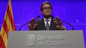 El president Artur Mas, durante la rueda de prensa que ha ofrecito tras la reunión del Consell Executiu.