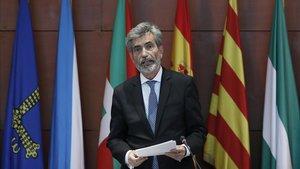 El presidente del Consejo General del Poder Judicial (CGPJ) y del Tribunal Supremo, Carlos Lesmes, el 25 de septiembre, en el acto de entrega de despachos a la nueva promoción de jueces, enBarcelona.