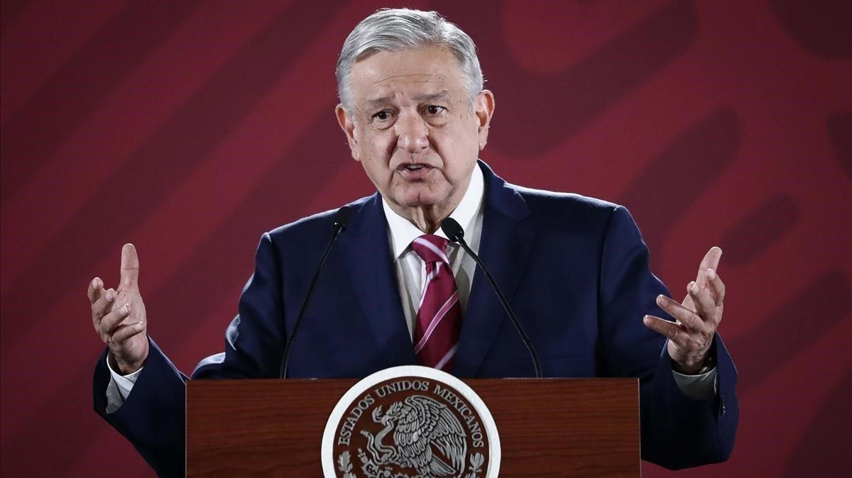 El presidente de México, López Obrador, durante la conferencia de prensa.