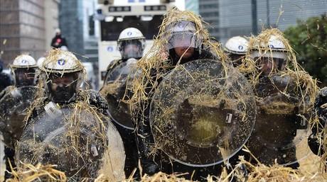 Manifestación de agricultores europeos en Bruselas