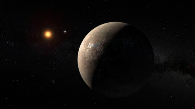 Simulación del exoplaneta Proxima b orbitando alrededor de Proxima Centauri, la estrella más cercana a nuestro Sol,a una distancia decuatro años luz.