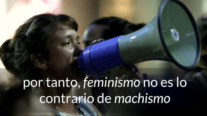 """Recomendación de la Fundéu: """"feminismo"""" no es lo contrario de """"machismo""""."""
