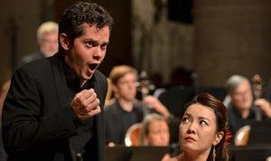 James Way (Tempo)y Sunhae Im (Bellezza), en El Trionfo del Tempo e del Disinganno,con la Freiburger Barockorchester dirigida por RenéJacobs,en el Festival de Ambronay.