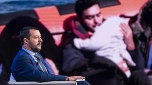 El ministro del Interior italiano, Matteo Salvini, el 20 de junio en un porgrama de televisión en Roma