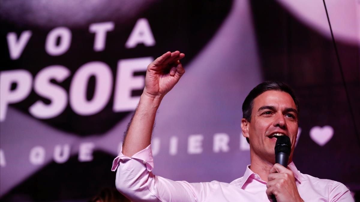 Sánchez, este domingo por la noche, tras saberse ganador de las elecciones generales del 28-A.