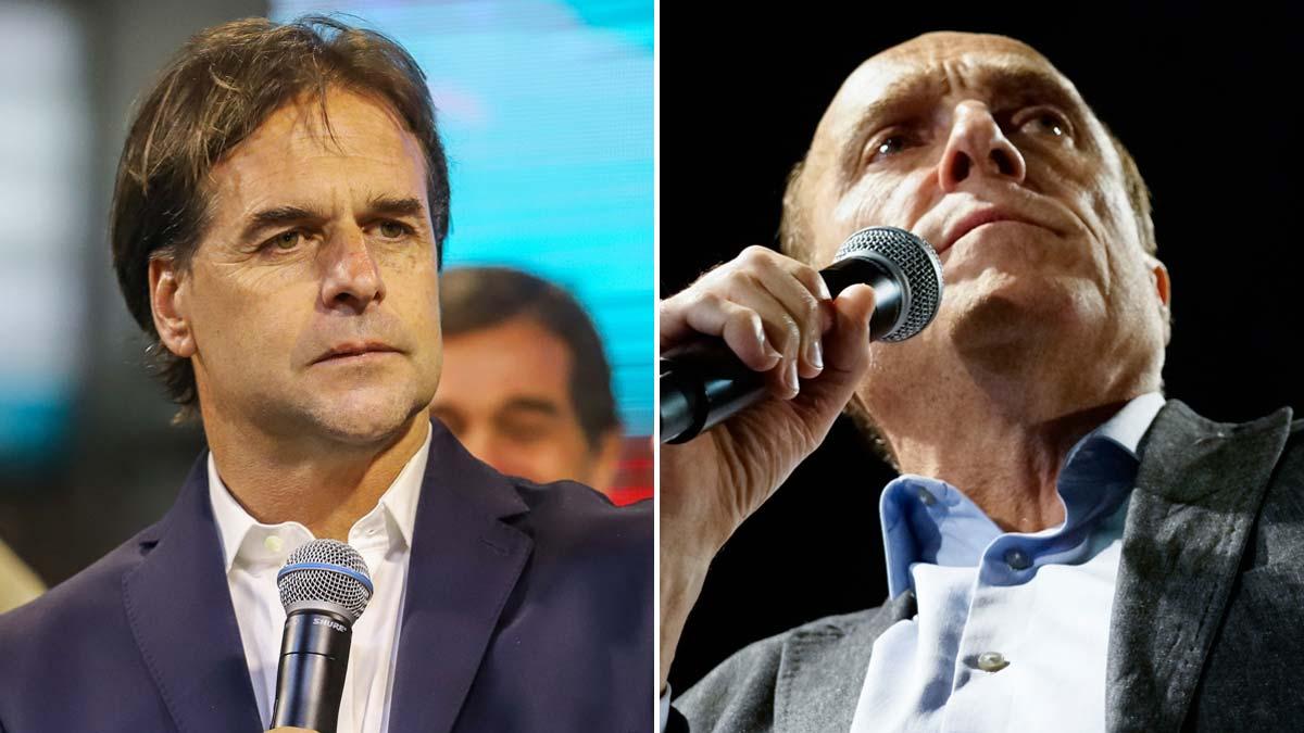 Solo 28.666 votos separan a Lacalle (izquierda)y Martínez con el 100 % del escrutinio en las elecciones de Uruguay.