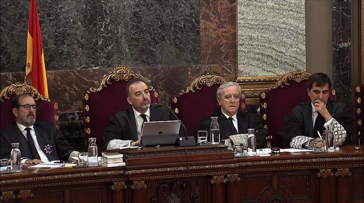 El tribunal que juzga a los líderes y políticos catalanes en el Supremo.