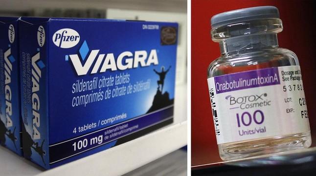 Una caja de Viagra y un frasco de Botox, de los laboratorios Pfizer y Allergan, respectivamente.