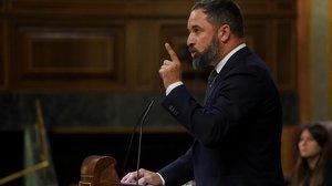 Santiago Abascal, el 29 de agosto, en el pleno sobre el 'Open Arms'.